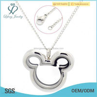 Fashion stainless steel mickey head floating locket rolo link chain jewelry