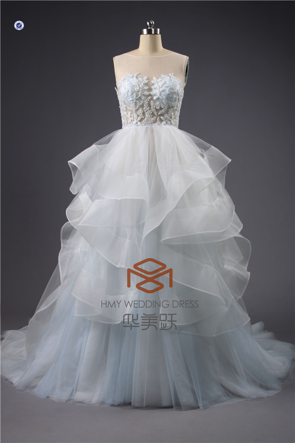 Real Pictures Suzhou SHMY-W205 Tulle Layered Illusion Tube Blue and White Wedding Dress