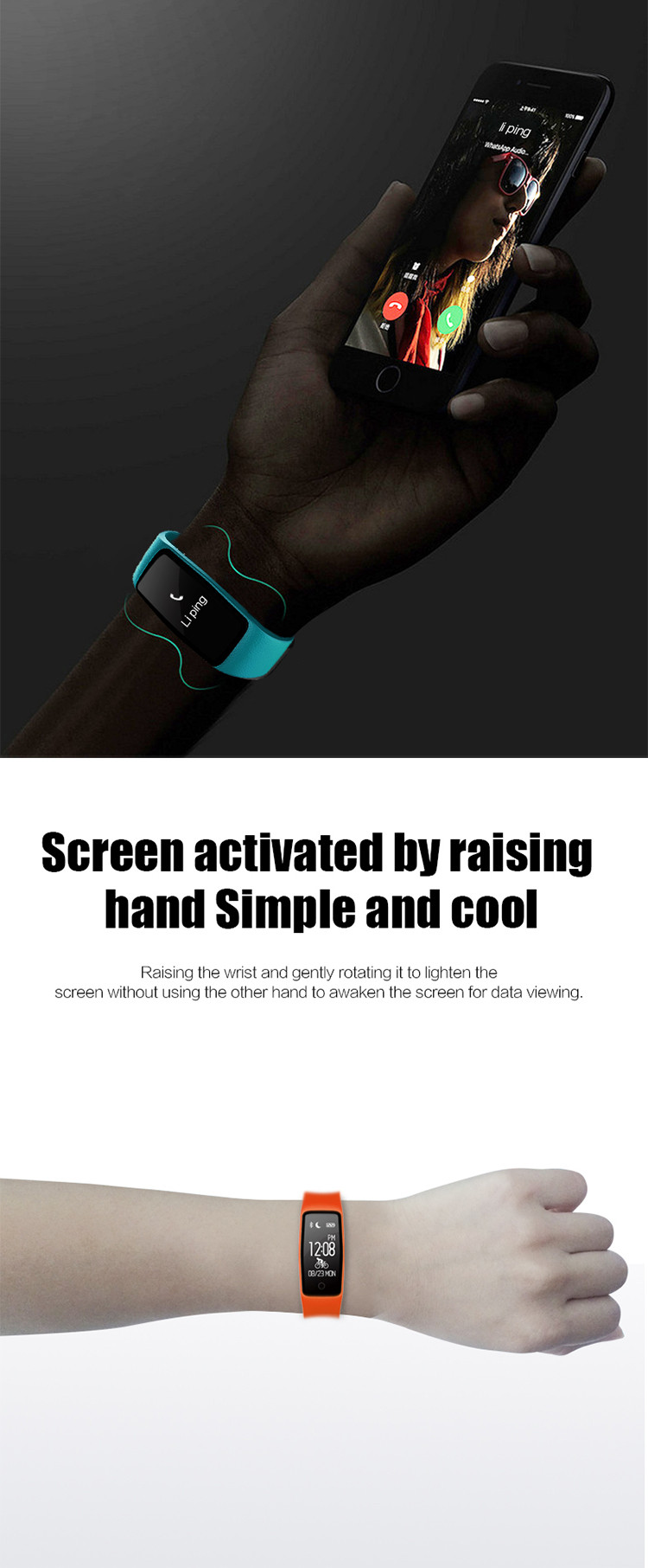 heart rate monitoring 3-axis G-sensor incoming call and name display dynamic heart rate detection wise wristband