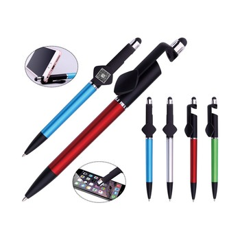 Alibaba Promotional items free sample phone holder with touch stylus plastic ball pen