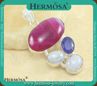 Silver Jewelry Wholesale Genuine Pink Botswana Agate Blue Sapphire Moonstone Pendant A437
