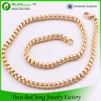 2014 High quality wholesale new gold chain design for men beaded gold chain necklace D6-0004