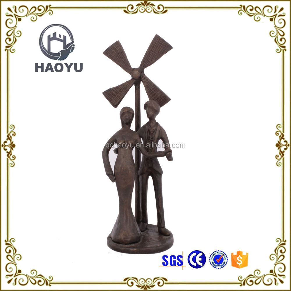 Metal art and crafts antique love couple windmill statues for home decoration