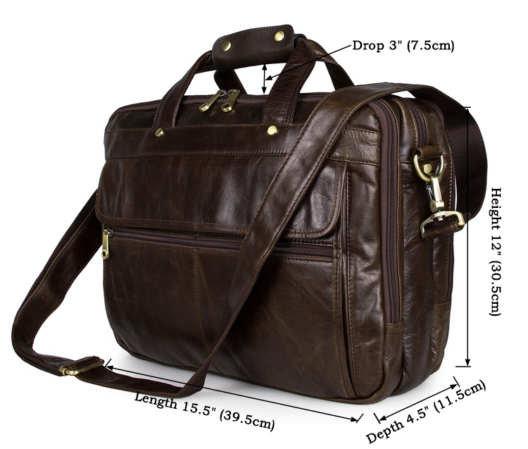 Men's Briefcase Messenge Bag Guarantee Genuine Leather Hand Bags From India #7146Q