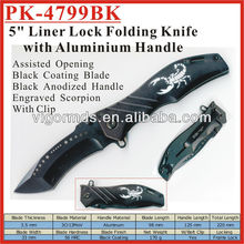 "(PK-4799BK) 5"" Big Assisted Opening Scorpion Engraved Pocket Knife"