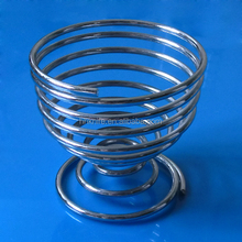 wire metal boiled egg cup holder spring strainer