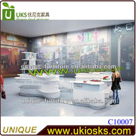 2014 supply 4*3m white beautiful customized cosmetic shop design make up display stand cosmetic kiosk design for sale