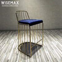 Replica Upholstered fabric Seat Brass Gold Stainless Steel Metal Brides Veil Bar Counter Stool wire Chair Supplier