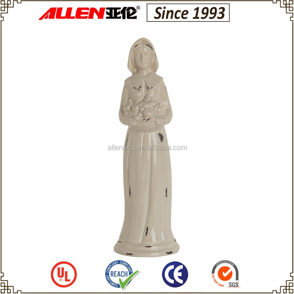 "Hot sale!12.6""ceramic standing white woman pilgrim figurines with fruits for Thanksgiving Day"