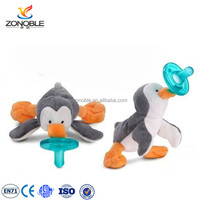 Lovely baby tooth pacifier with plush toy penguin safe funny newborn stuffed plush animal pacifier
