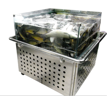 Dingfeng customized supermarket or restaurant promotion 1 layer caster water chiller stainless steel tilapia fish tank