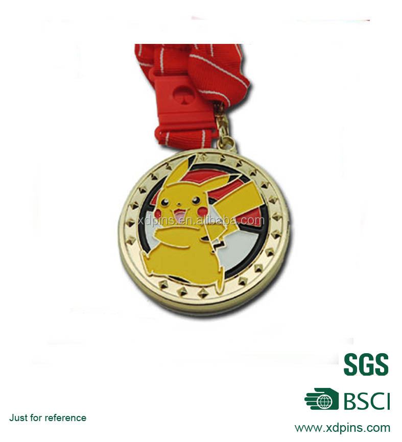 cheap wholesale custom sport metal medal with Pikachu logo