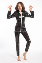 2016 Instyles Gothic Wetlook Catsuit Body Suit Black Faux Leather Zipper Jumpsuits Catwoman