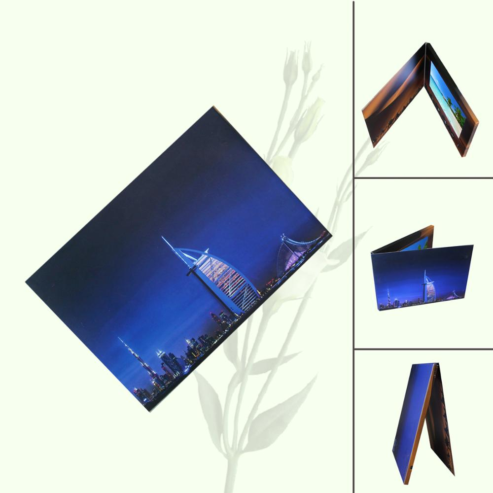 custom Full colors LCD Video Brochure for festival , 4G / 8G lcd video greeting card in paper <strong>craft</strong>