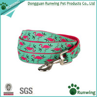Pet Pink Flamingo Emerald Durable Dog Leash Lead And Dog Collar