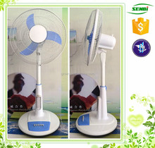 LED lighting solar table fan 16'' solar powered ventilation plastic table stand fan