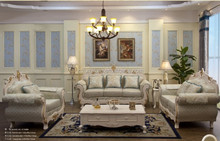 French luxury royal solid wood frame carving golden fabric sofa set living room furniture