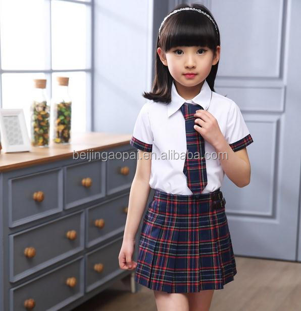 China manufacturer custom pleated japanese school uniform plaid skirts