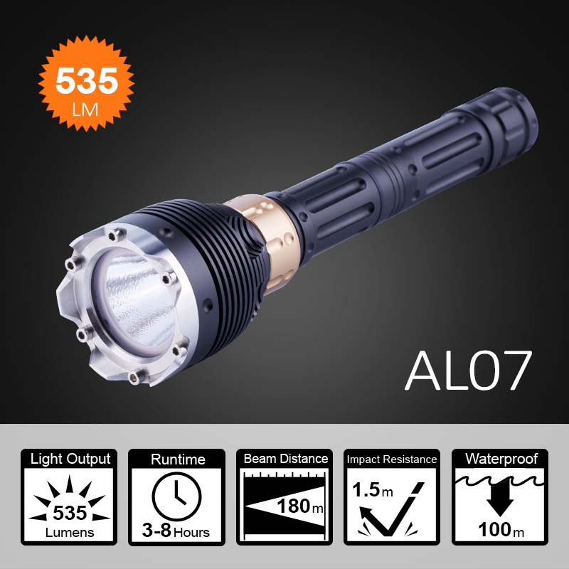Professional 1200lm XML2 rechargeable <strong>led</strong> diving flashlight