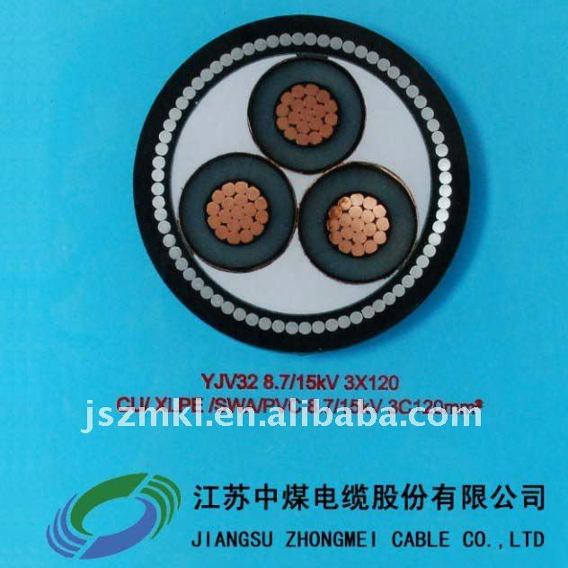 Copper conductor, XLPE insulated, PVC sheathed, steel wire armoured power cable