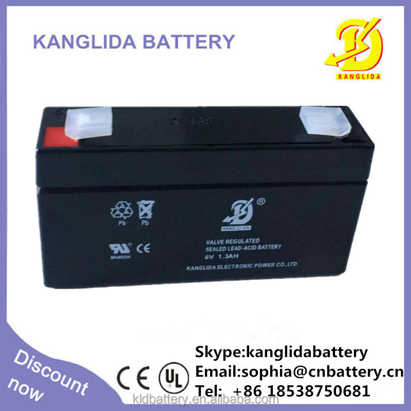 high power battery 6v 1.3ah rechargeable lead acid battery