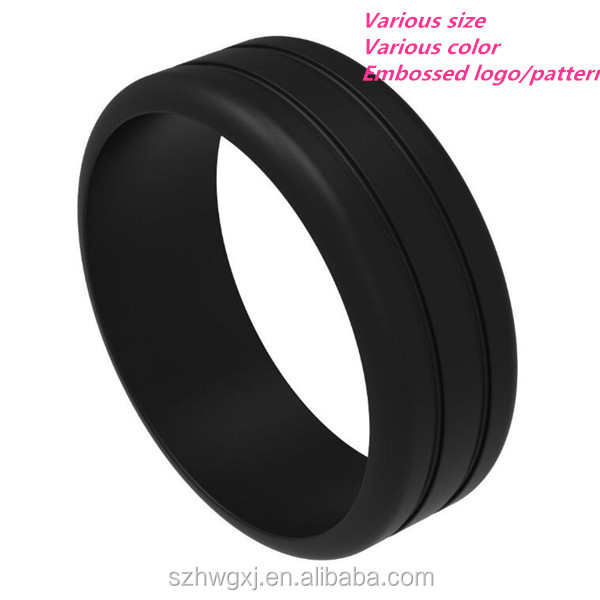 Custom embossed silicone rubber wedding ring for women