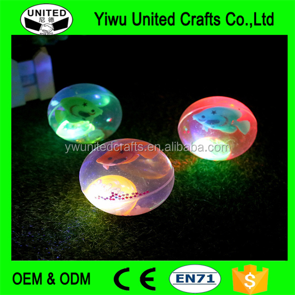 Wholesale Custom Logo TPU LED Bouncing Ball with Water and Glitter