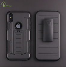 PC silicone shockproof Armor stand Case For iPhone X, 360-degree covered back clip heavy duty case for iPhone X