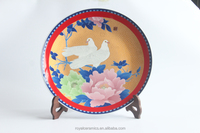16.6 inch Chinese culture style gold painting and hand painted underglazed porcelain decorative plate