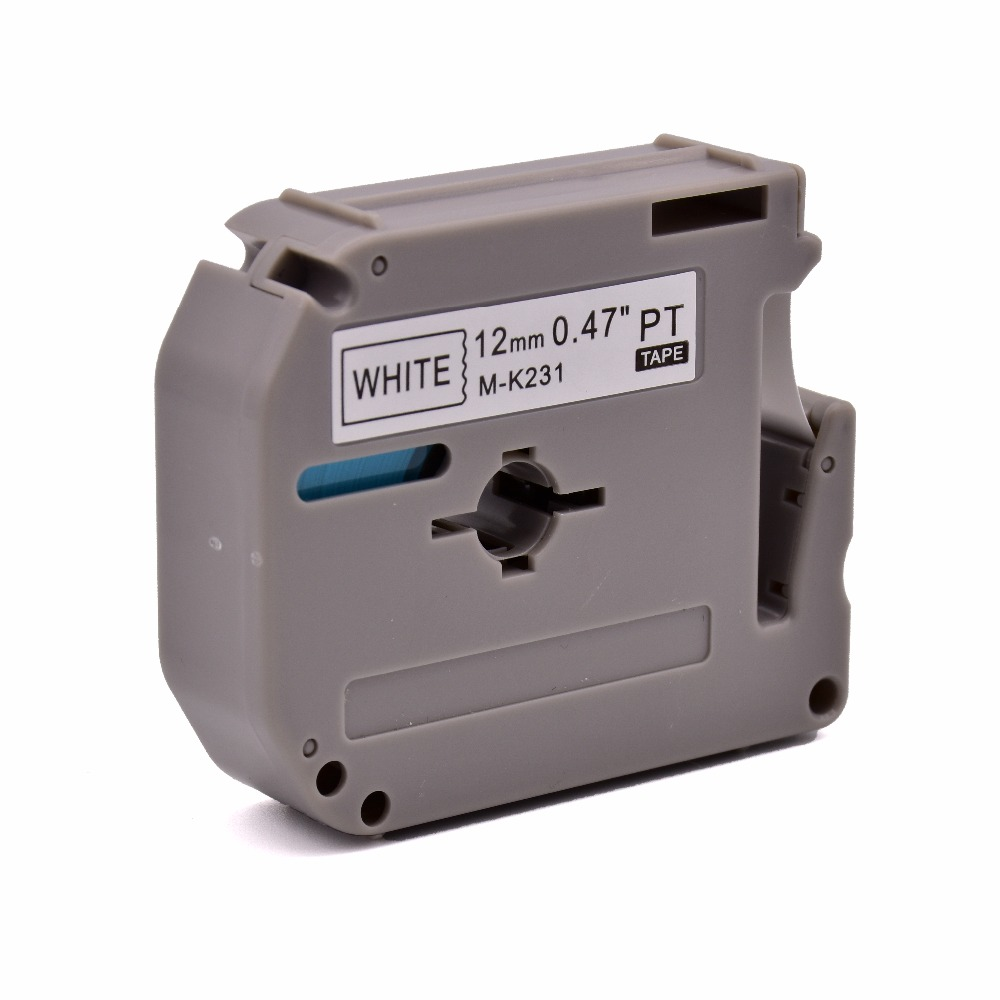 PUTY Compatible M series tape cartridges M-K231 12mm black on white for p-touch labelers