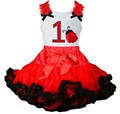 Red Black Pettiskirt with Number 1- 6 Ladybug White Tank Top