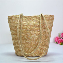 Factory direct sales beach bag female simple straw , straw basket bag