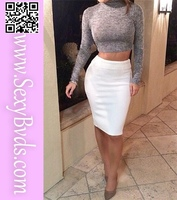 Two Pieces Bandage Dress With Long Sleeves Gray And Top White