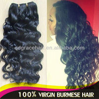 Best quality unprocessed black Burmese virgin hair curly