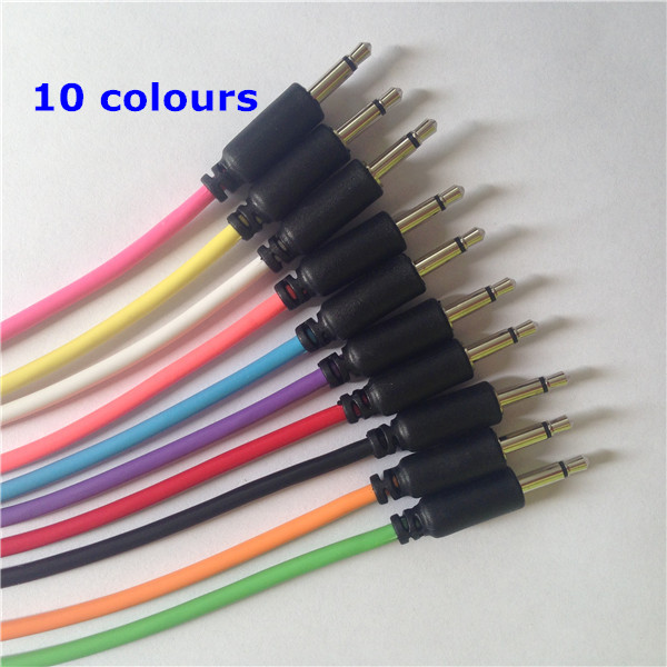 "Colour patch cables 3.5mm mono 1/8"" audio connection cable"