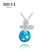 Vogue butterfly designs crystal point animal pendant round blue stone jewellery pendants necklace