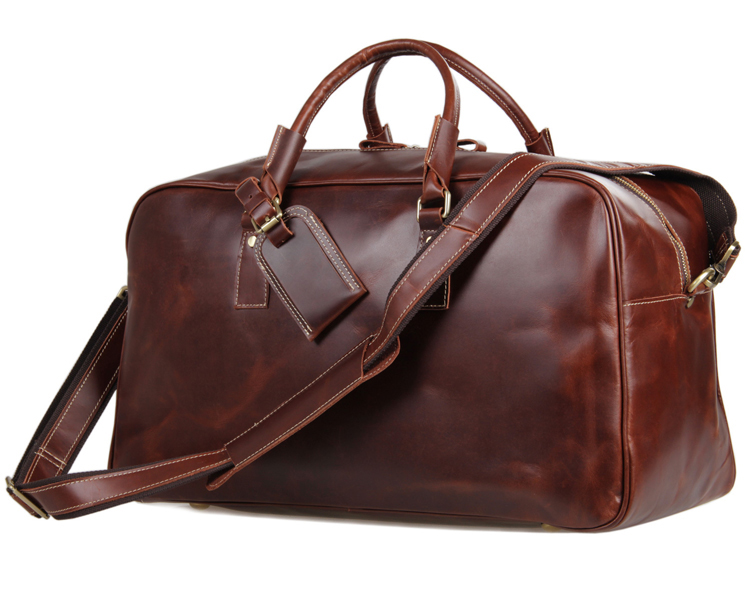 Fashion Casual Custom Men Genuine Leather Travel Duffle Bag