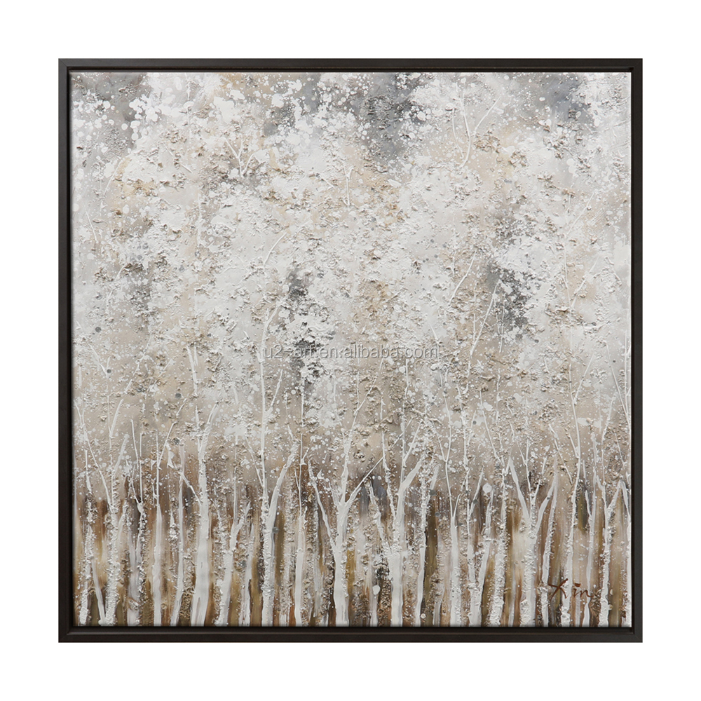 Modern Home Decor Textured Canvas Wall Art Tree Painting Abstract