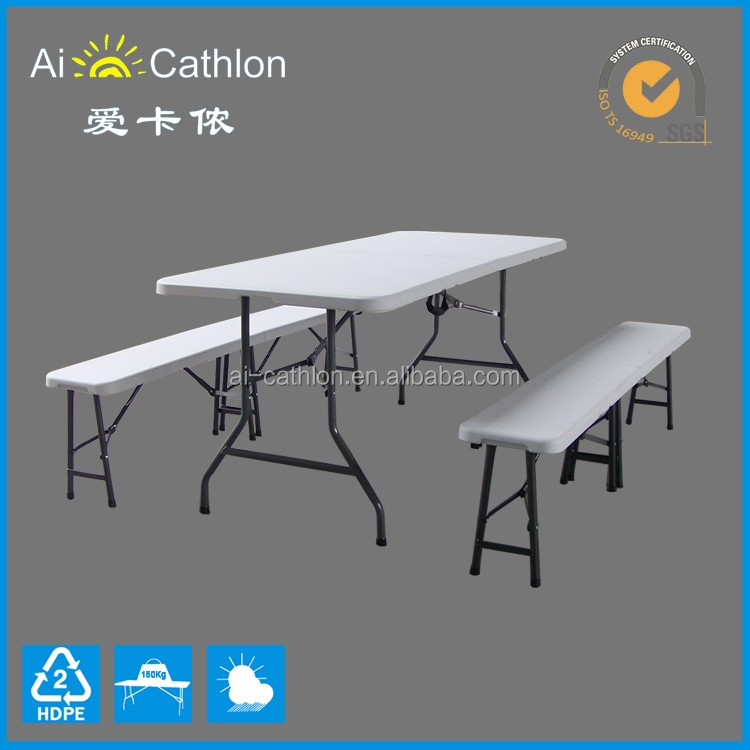 Portable folding table - 6' rectangle folding table HDPE table top / plastic folding tables wholesale / plastic foldable table