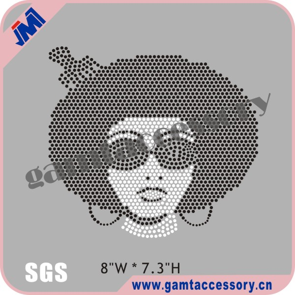 Afro Girl motif rhinestone transfer for wholesale tshirt