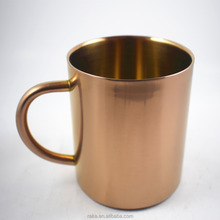 Copper plated Coffee Mug 13.5oz/400ml Double Wall Stainless Steel Coffee Cup (Gold)