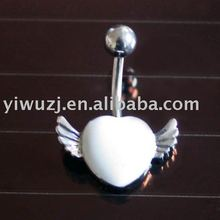 Hot design navel ring with dangling jeweled dolphin outline navel belly ring curved banana belly-ring-N331