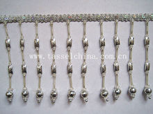 LONG SILVER FRINGE TRIM FOR LAMPSHADE