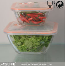 ASC8126-1000ml 33.78oz High Borosil Glass Made Food Storage Container Set!Stackable Glass Food Containers Set Freezer To Oven