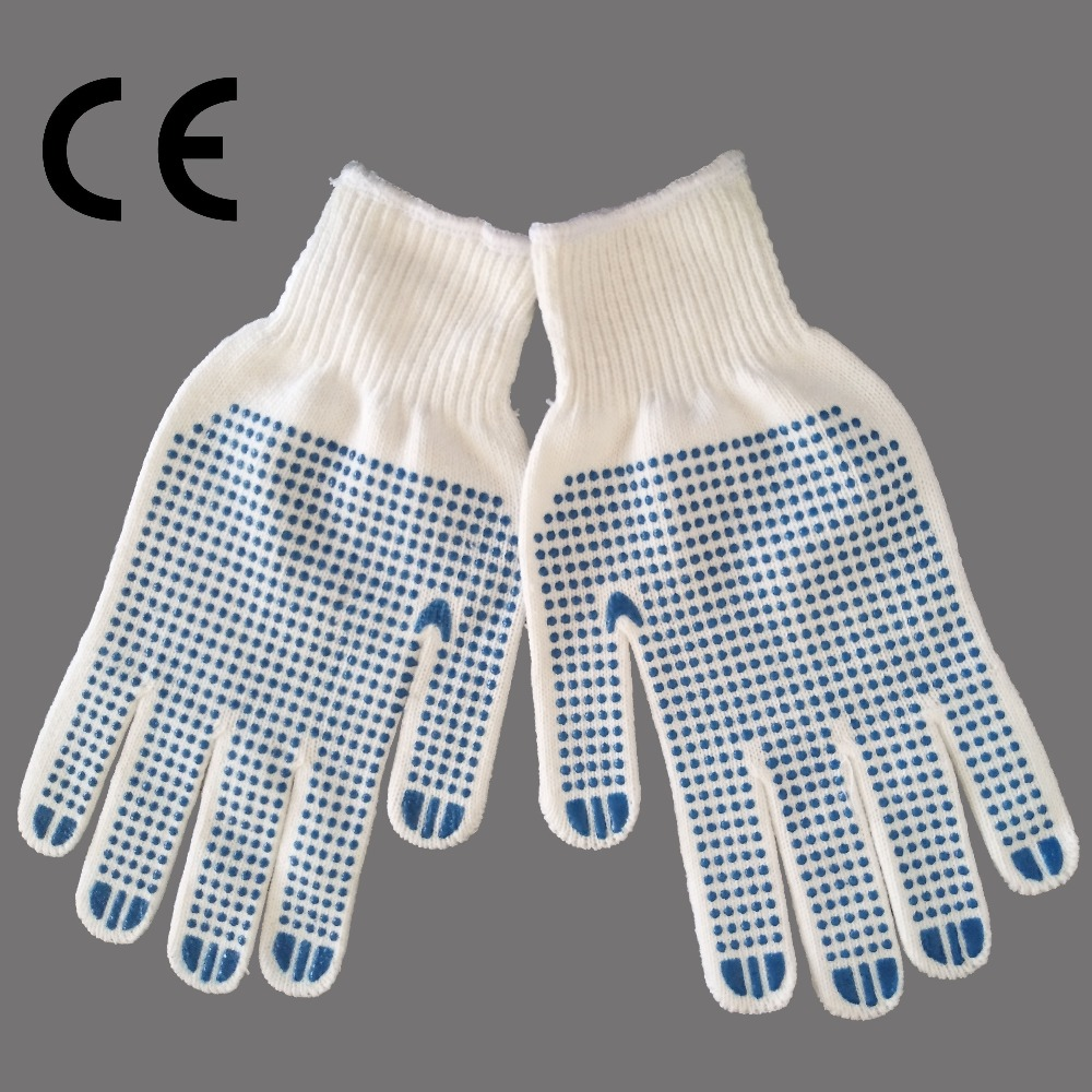 Cheap Safety Cotton String Knit Work Gloves with PVC dots on Palm