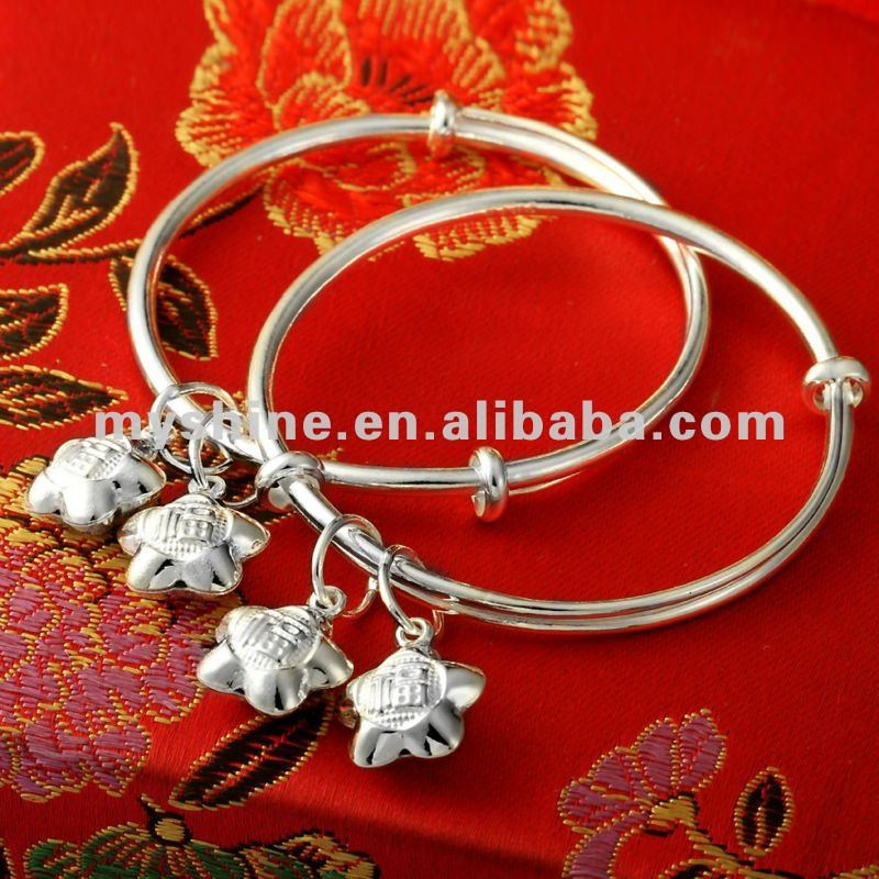 pure silver baby bangle silver round bangle with star bells