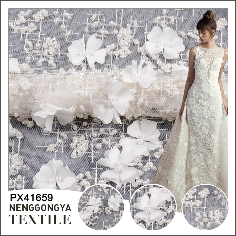 Best selling polyester wedding flower 3d lace fabric beads bridal