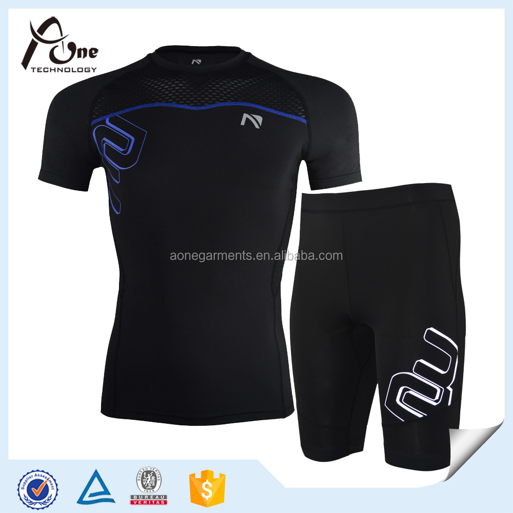 Mens Black Gym Suit Sportswear Compression Baselayers