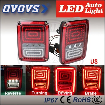 OVOVS 7inch 12v/24v pmma lens led tail light with reserve/brake/turning/driving for 07-15 fj cruiser