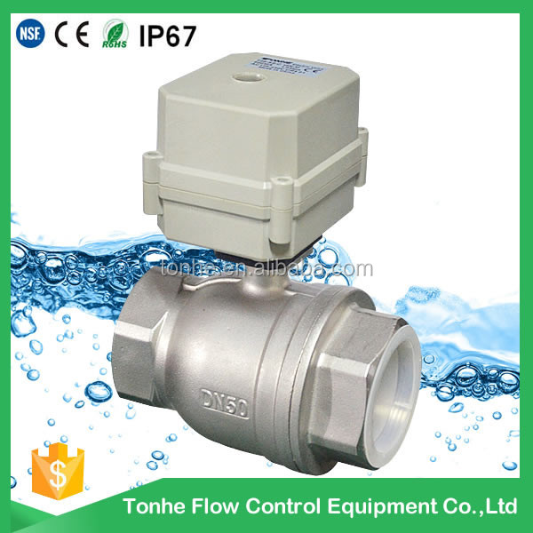 DN50 2 inch 2 way DC12/24V SS304 stainless steel electric control motorized ball valve
